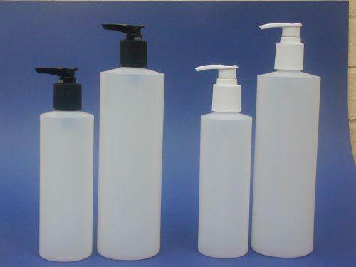 Natural Cylindrical Plastic Bottle & Black Lotion Pump 250ml
