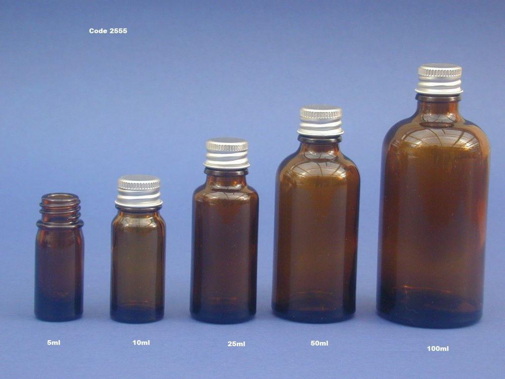 Amber Glass Bottle & Metalise Closure 50ml