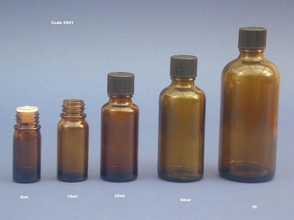 Amber Glass Bottle, Insert & Black Closure 50ml