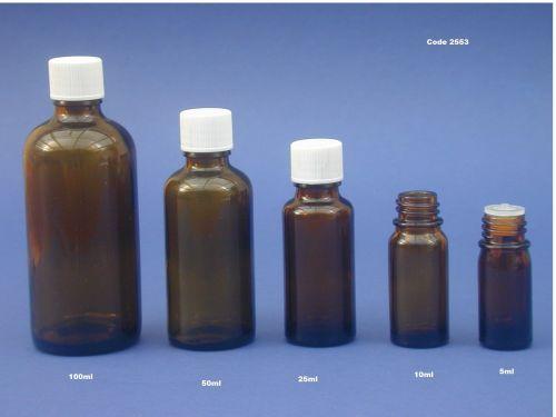 Amber Glass Bottle, Insert & White Closure 100ml