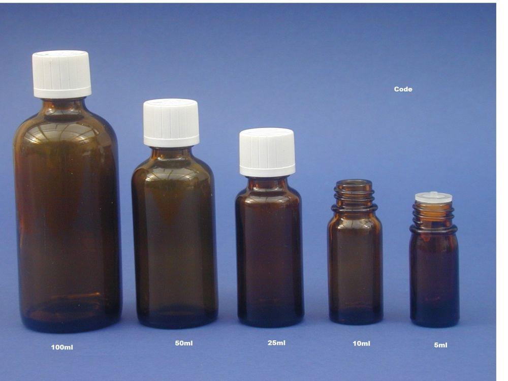 Amber Glass Bottle, Insert & White CR Closure 100ml