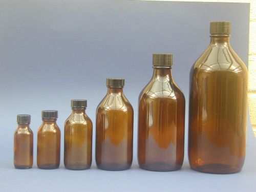 Amber Glass Medical Round Bottle & Black Closure 250ml