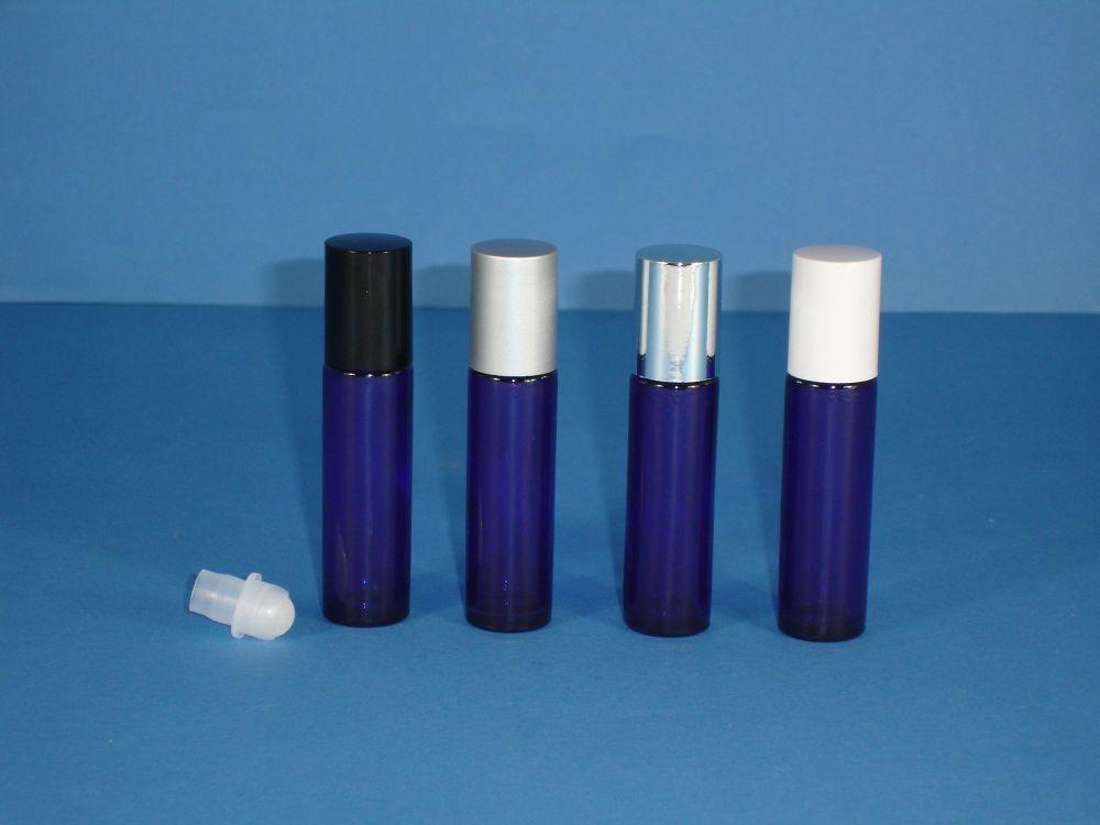 Blue (Coated) Glass Bottle, Rollette & Black Closure 10ml
