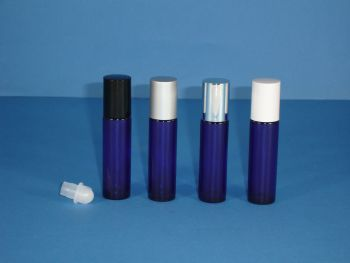 Blue (Coated) Glass Bottle, Rollette & Black Closure 10ml (2609)