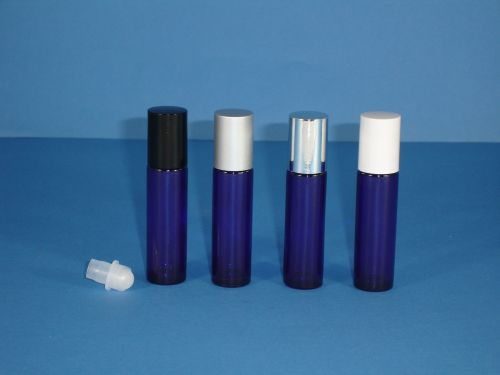 Blue (Coated) Glass Bottle, Rollette & White Closure 10ml