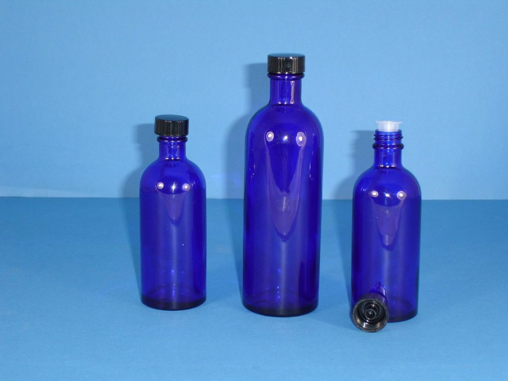 Blue Fleur Glass Bottle