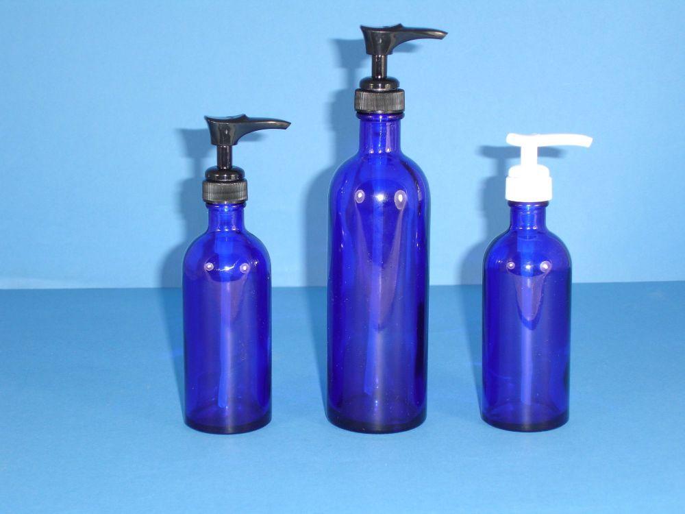 Blue Fleur D'Oranger Glass Bottle & Black Lotion Pump 200ml