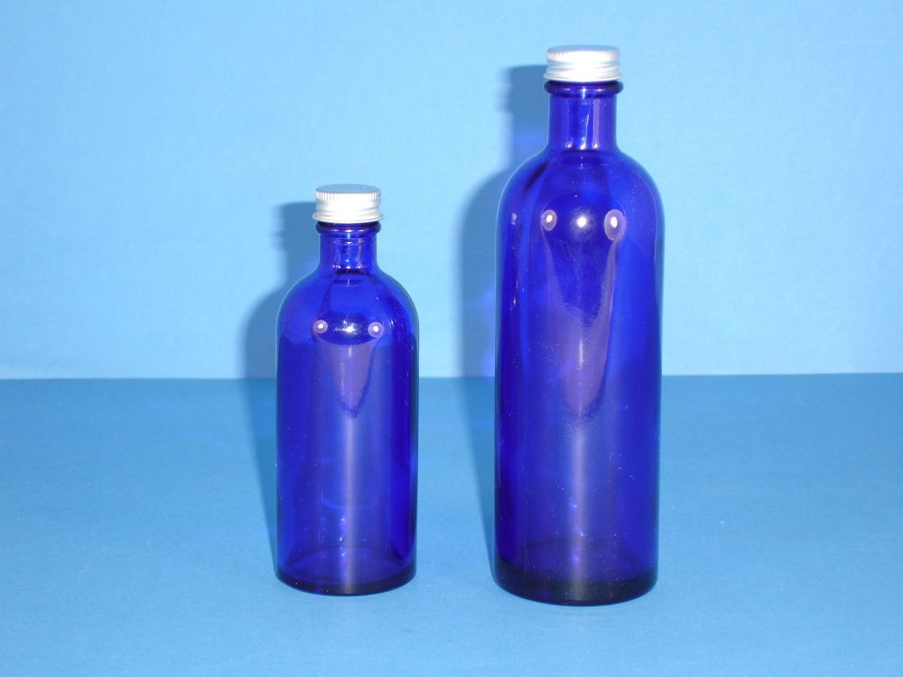 Blue Fleur Glass Bottle Metalise Cap