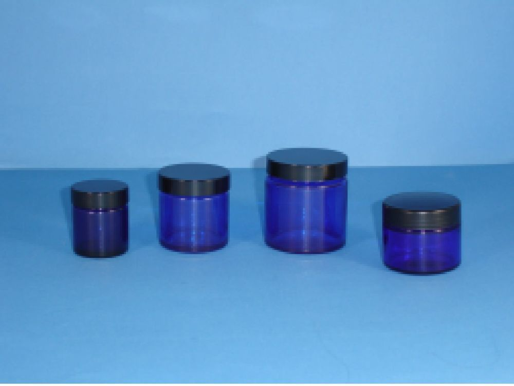 Blue Glass Jars Black Lid