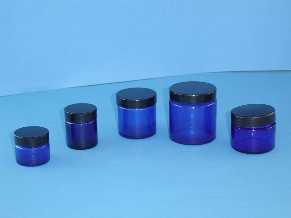 Blue Glass Jar/Black Closoure 120ml