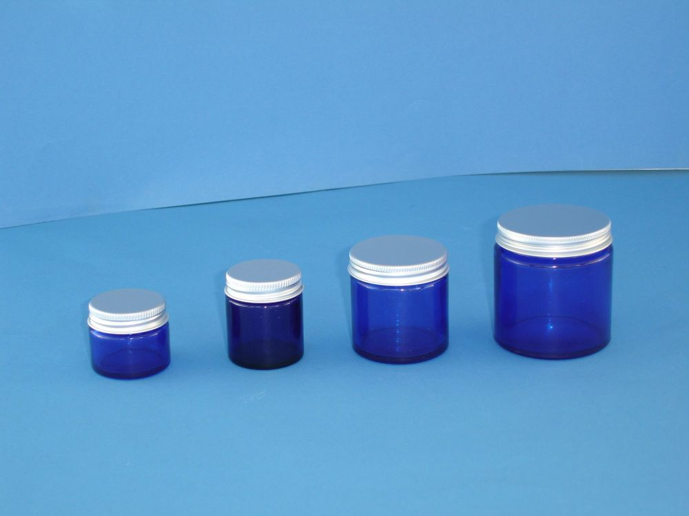 Blue Glass Bottle Siver Lid