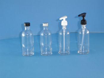 Clear Fleur Glass Bottles/Black Closure 100ml (2602)
