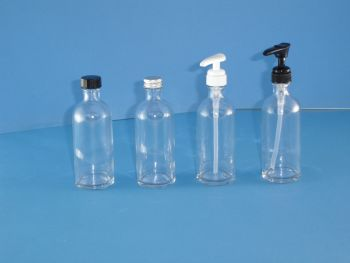 Clear Fleur Glass Bottles/White Lotion pump 100ml (2603)
