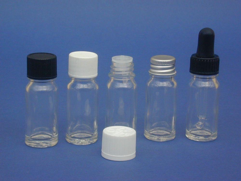 Clear Glass Bottle, Insert & Black Closure