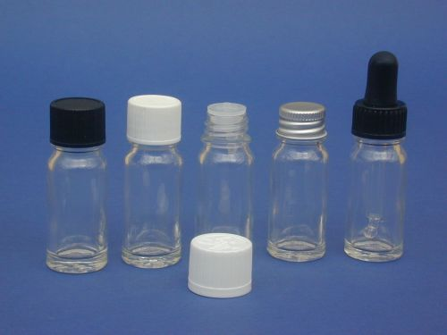 Clear Glass Bottle, Insert & White Closure