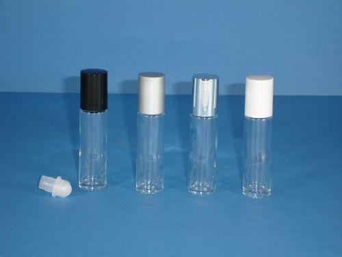 Clear Glass Bottle, Rollette & White Closure 10ml