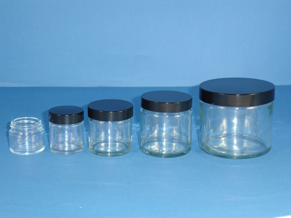 Clear Glass Jar & Black Closure 30ml