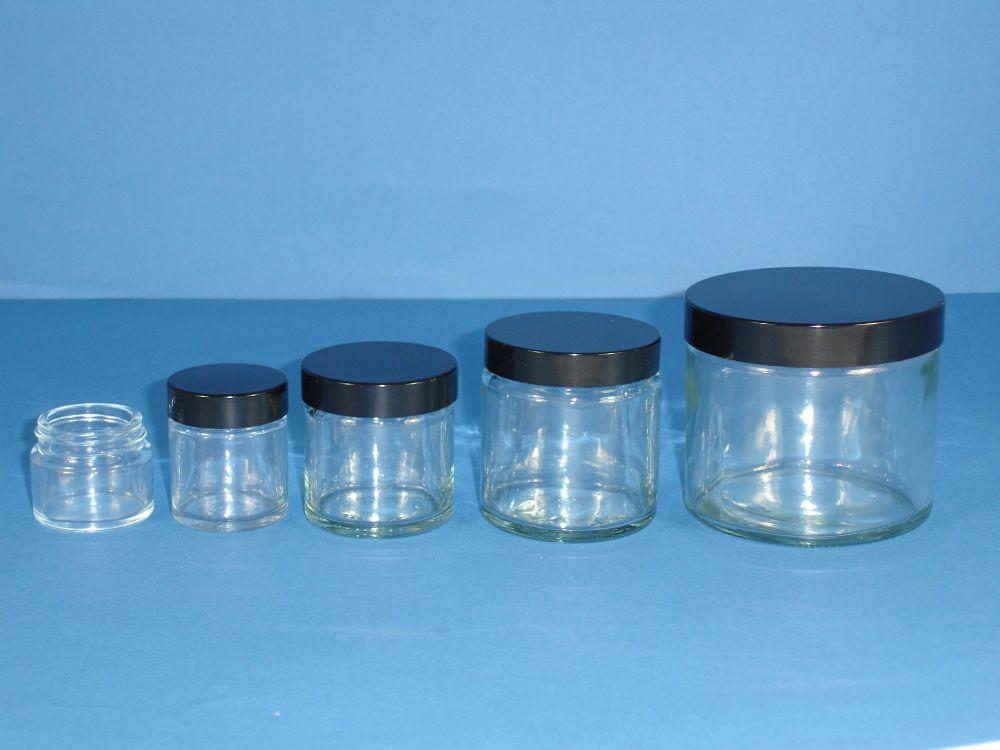 Clear Glass Jar & Black Closure 60ml
