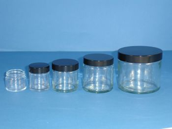 Clear Glass Jar & Black Closure 60ml (2566)