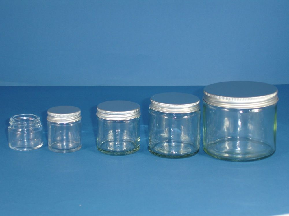 Clear Glass Bottle Siver Lid