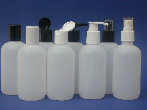 Natural Boston Round Plastic Bottle & White Lotion Pump 250m
