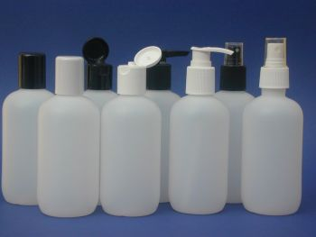 Natural Boston Round Plastic Bottle & Black Lotion Pump  250m (2757)