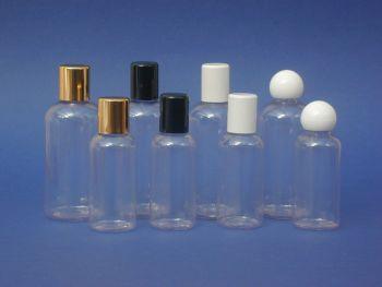 Clear Boston Round Plastic Bottle & White Radius Closure 100ml (2738)