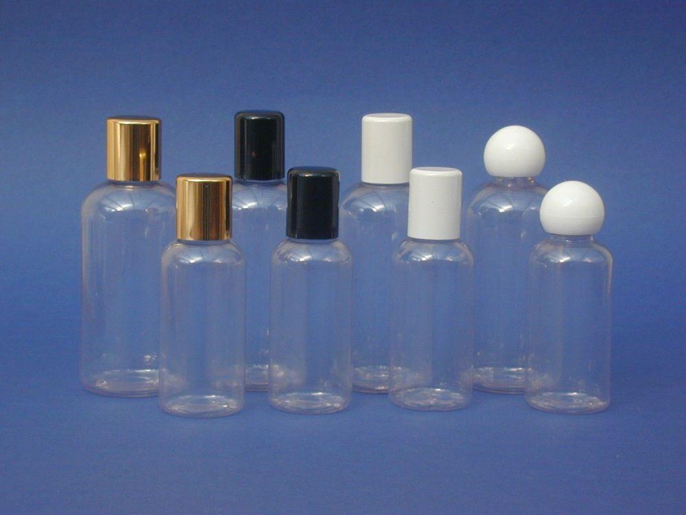 Clear Boston Round Plastic Bottle & White Ball Closure 100ml