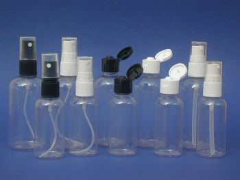 Clear Boston Round Plastic Bottle & Black Finger Spray 50ml (2740)