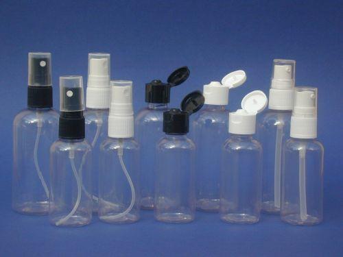 Clear Boston Round Plastic Bottle & Black Flip Top Closure 50ml
