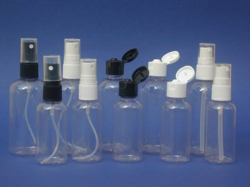 Clear Boston Round Plastic Bottle & Black Flip Top Closure 100ml