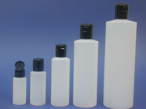 Natural Cylindrical Plastic Bottle & Black Flip Top Closure 250ml