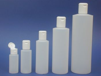 Natural Cylindrical Plastic Bottle & White Flip Top Closure 250ml (2701)