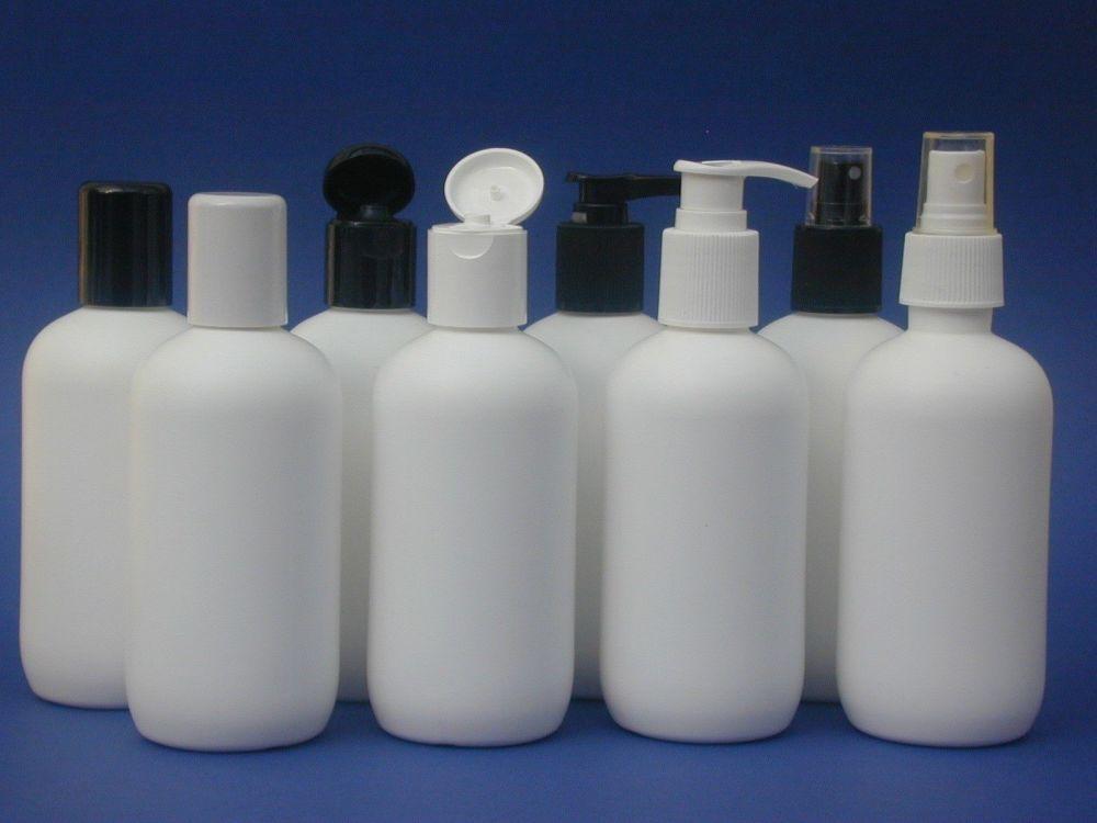 White Boston Round Plastic Bottle & Black Lotion Pump 250m
