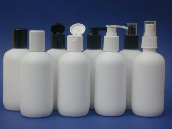 White Boston Round Plastic Bottle & White Lotion Pump 250ml (2766)