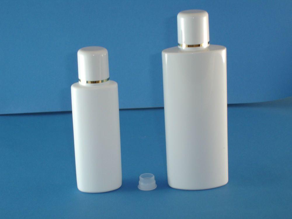 White Oval Plastic Bottle/Plug &  White Gold Ring Closure 125ml