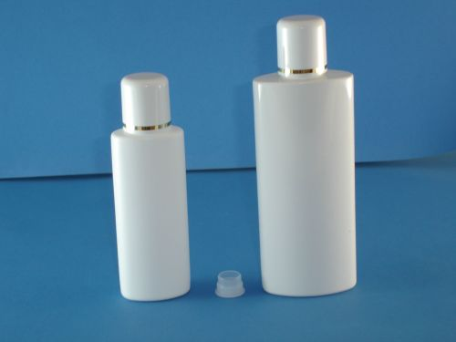 White Oval Plastic Bottle/Plug &  White Gold Ring Closure 125ml