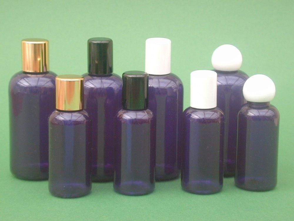 Blue Boston Round Plastic Bottle & Black Radius  Closure 50ml