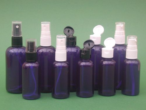 Blue Boston Round Plastic Bottle & Black Finger Spray 100ml