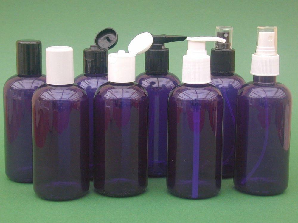 Blue Boston Round Plastic Bottle & Black Flip Top Closure 250ml