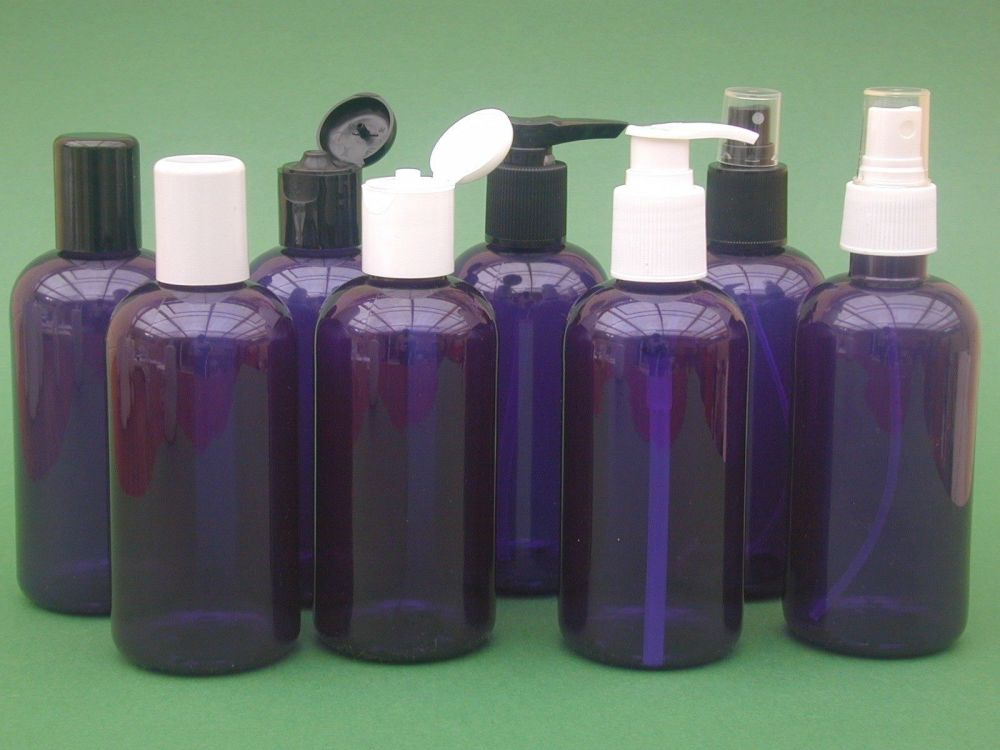 Blue Boston Round Plastic Bottle & White Finger Spray 250ml