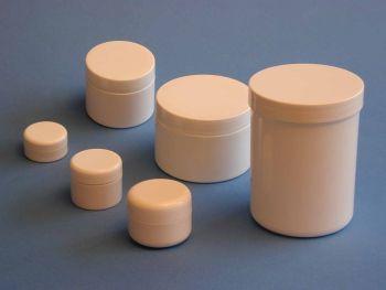 Single Wall White Plastic Jar & White Round Closure 10m (2818)