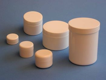 Single Wall White Plastic Jar & White Round Closure 250ml  (2820)