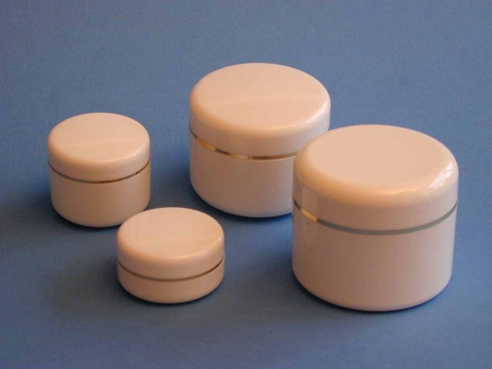 Double Wall White Plastic Jar/White Round Gold Ring Closure 30ml