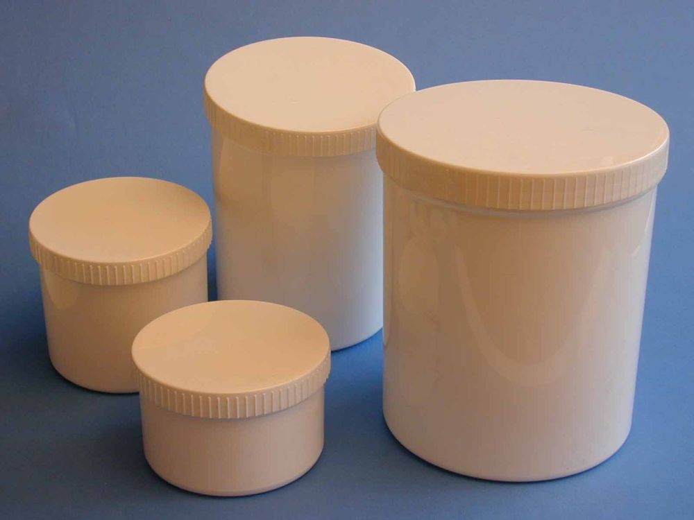 Single Wall White Plastic Jar & White Flat Serrate Closure 100ml
