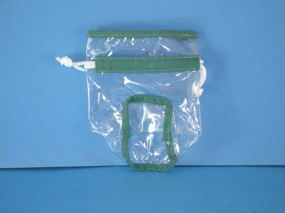 Clear Vinyl Round Bag & Draw String - Green Piping