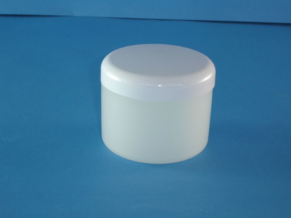 Frost Plastic Jar/white Closure 250ml