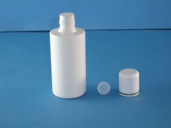 White Round Plastic Bottle/Plug & White Gold Closure 200ml (2788)