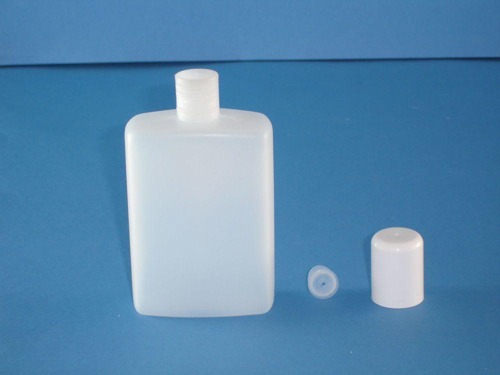 Natural Rectangular Plastic Bottle/Plug & White Closure 125ml