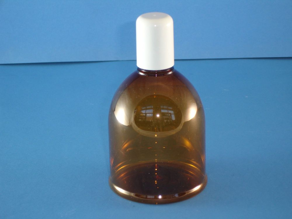 Amber Round Shoulder Plastic Bottle and White Closure 250ml